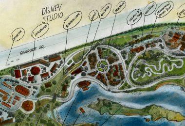 Concept art for proposed Disneyland in Burbank