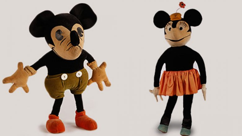 Mickey Mouse and Minnie Mouse dolls from 1930s