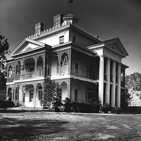 black and white photo of The Haunted Mansion