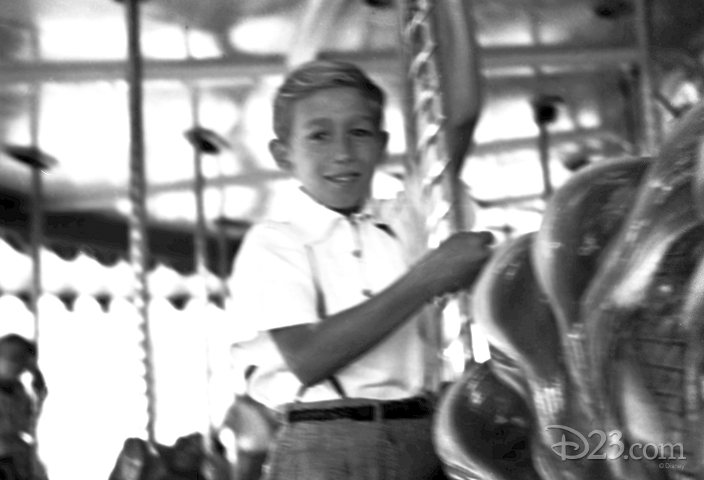 photo of young Roy E. Disney riding carousel Griffth Park, Los Angeles circa 1930s
