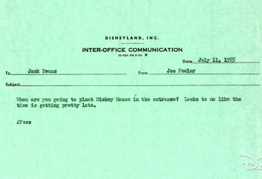 typewritten memo dated dated July 11, 1955 from Joe Fowler to Jack Evans announcing Mickey Mouse floral for Disneyland entrance