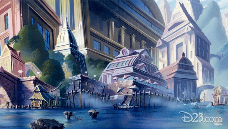 illustrated background art of fictional port city of Cape Suzette from Disney Afternoon TaleSpin