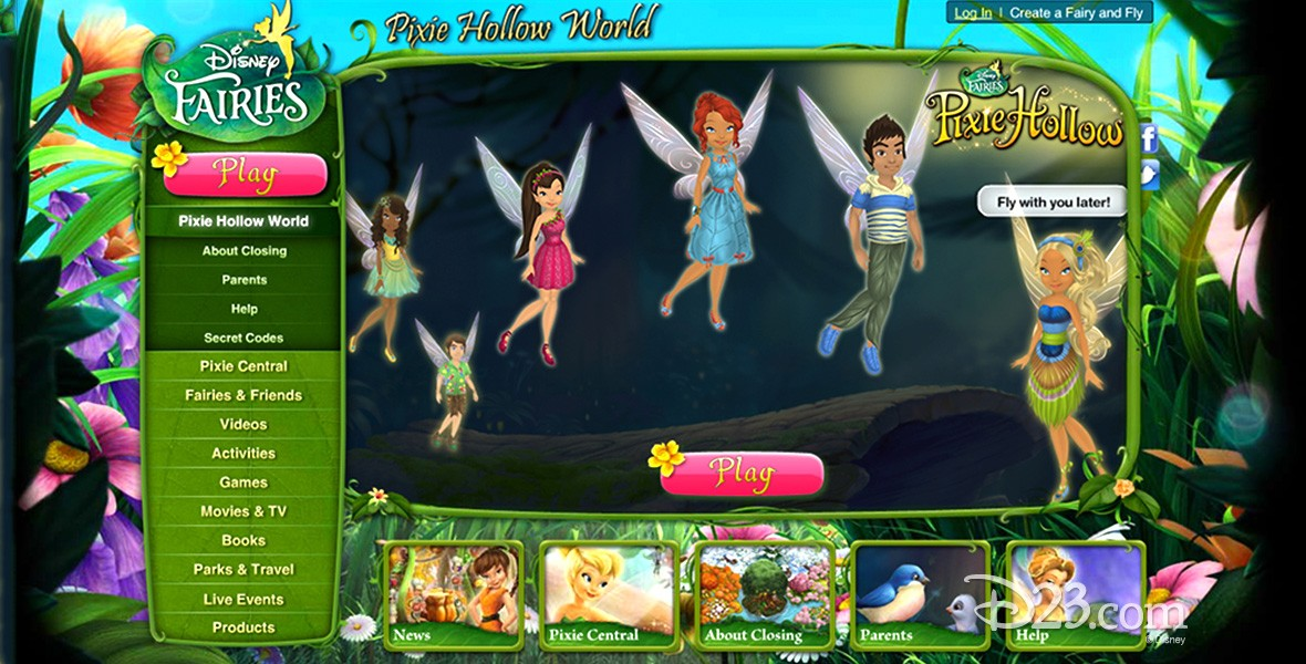 screen from website for Disney Fairies Pixie Hollow