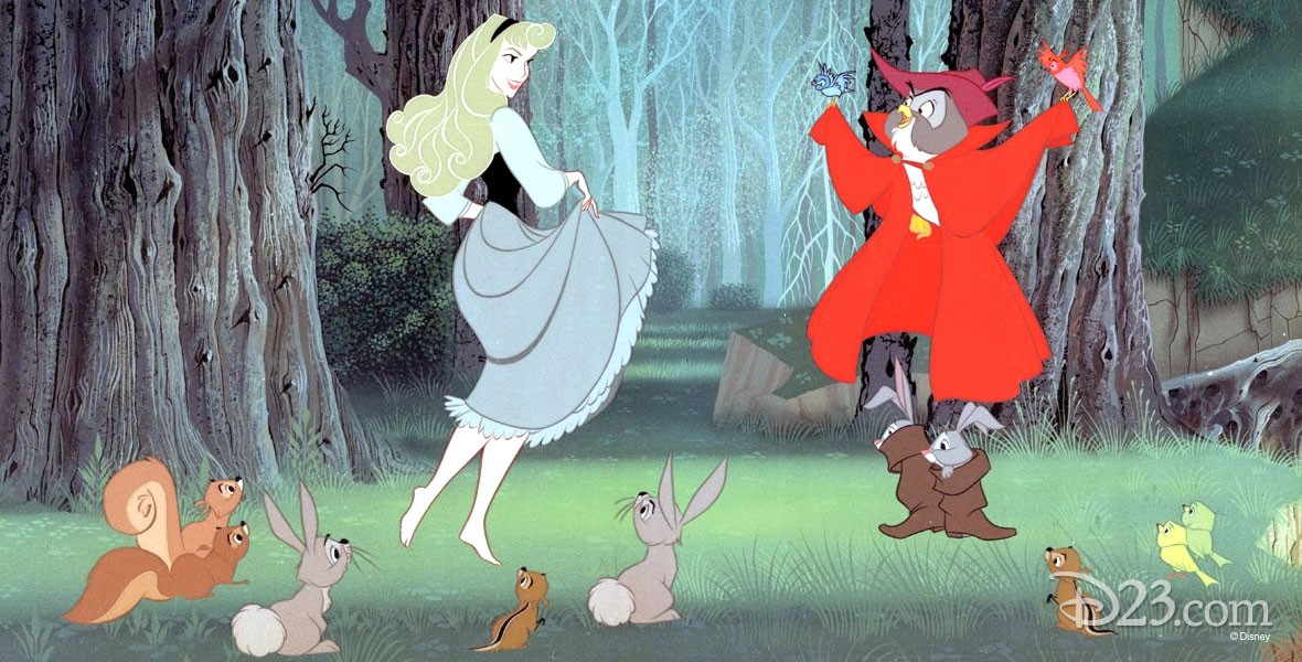 cel from animated feature Sleeping Beauty featuring Princess Aurora in the forest speaking with several animal friends