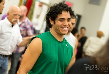 photo of actor Adam Jacobs rehearsing his role as Aladdin in 2014 Broadway Production