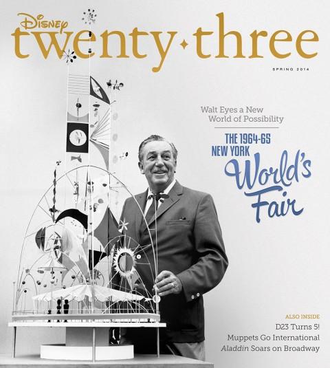 Disney twenty-three Spring 2014 cover art featuring Walt and the 1964 New York World's Fair