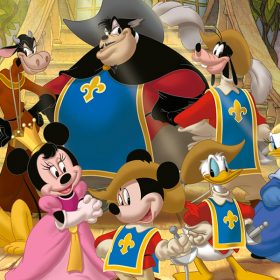 Animated cast of Disney film Mickey, Donald, and Goofy: The Three Musketeers
