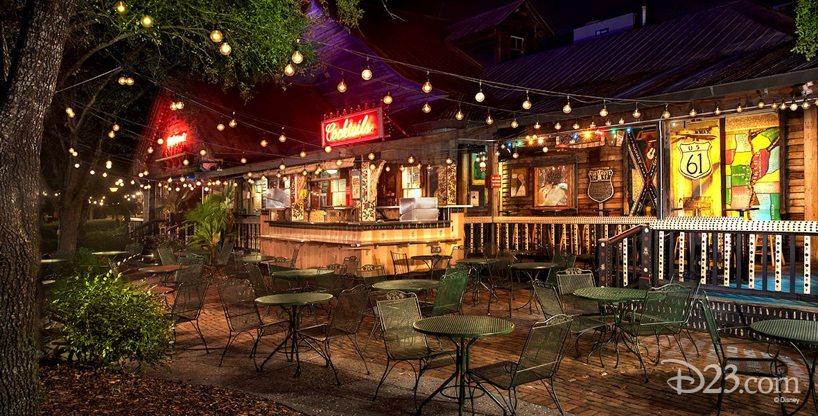 nighttime photo of outdoor patio adjoining House of Blues restaurant