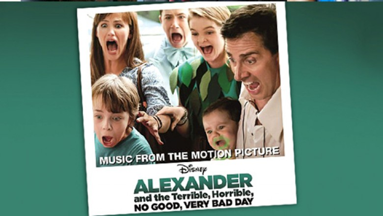 still frame from movie Alexanders and the Terrible Horrible No Good Very Bad Day featuring Jennifer Garner and Dick Van Dyke and cover art for CD soundtrack showing the full cast looking very apprehensive