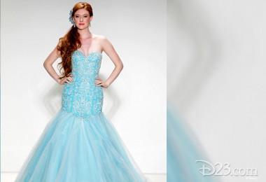 photo of model weading Alfred Angelo wedding dress in Frozen ice light blue strapless