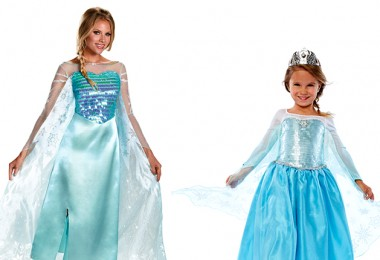 photo of two girls wearing princess costumes inspired by Frozen