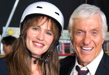 photo of Jennifer Garner posing in bicycle helmet with Dick Van Dyke