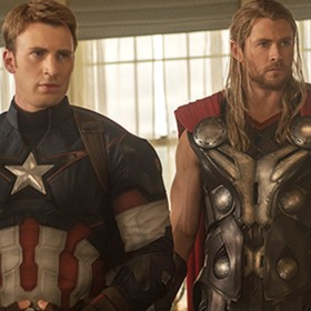 movie frame of Chris Evans and Chris Hemsworth in Marvel Avengers: Age of Ultron
