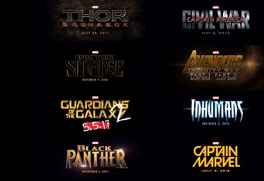 illustrated titles of eight of Marvel's Phase Three Movie Releases