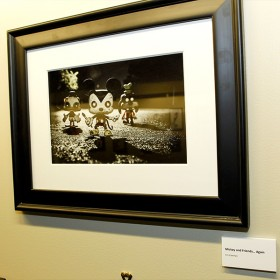 photo of framed illustration of Mickey Mouse, Donald Duck, and Goofy as zombies in Disney Television Animation Zombie Gallery