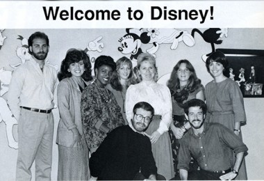 internal Disney news publication clipping with title Welcome to Disney! and photo of nine new hires to various Disney Television Animation-related departments