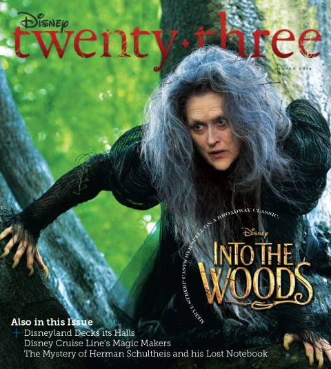 Disney twenty-three Winter 2014 cover art featuring Into the Woods