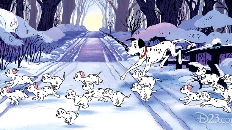 illustration of Dalmatian family hastily crossing snowbound road from 101 Damatians Diamond Edition