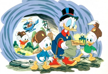 still from DuckTales cartoon episode featuring Scrooge McDuck with Huey Louie Dewey reading a treasure map as they charge into a cave together while a helicopter swoops past outside