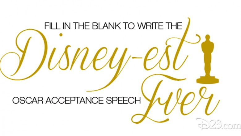 fanciful invitation card stating Fill in the blank to write the Disney-est Acceptance Speech