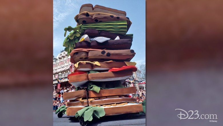 photo of huge multi-layered sandwich float in parade