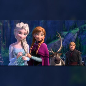 still from the animated movie Frozen featuring Frozen's Elsa, Anna, Sven the moose, and Krstoff
