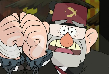 still from animated series Gravity Falls showing character Grunkle Stan Handcuffed