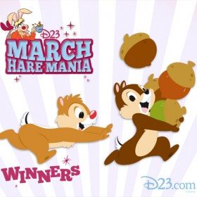 illustrated announcement card for March Hare Mania Winners featuring Chip 'n' Dale