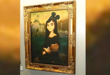 photo of framed painted Mona Lisa Mickey Mouse Fan girl