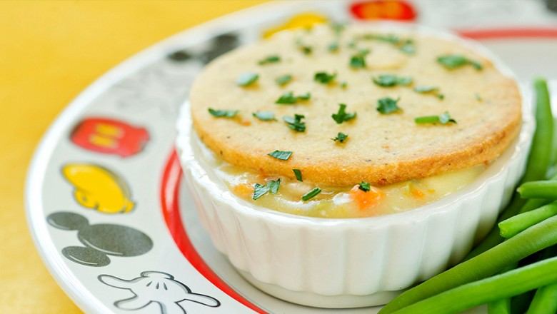 photo of bowl filled with baked Turkey Pot Pie