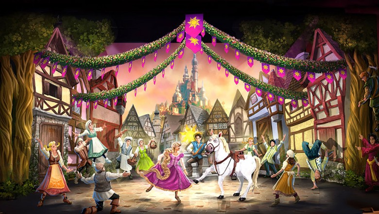 illustrated stage scene from the animated feature Tangled showing Rapunzel dancing center stage with a white horse
