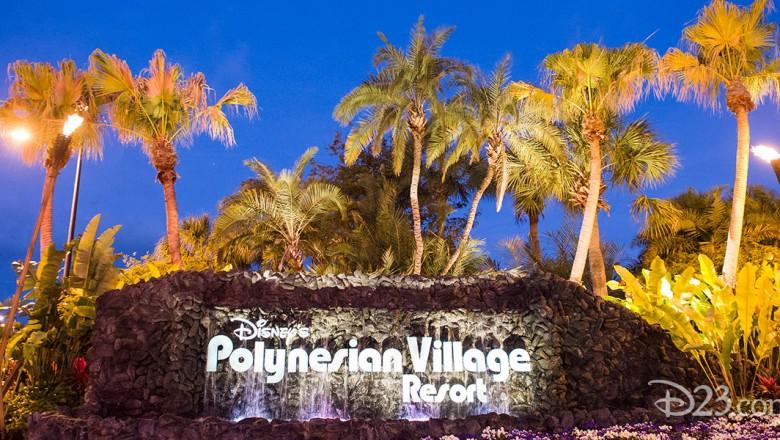 sunset photo of entrance sign of DIsney Polynesian Village Resort