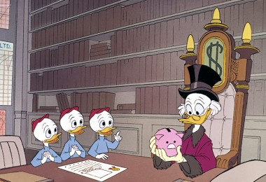 cel from cartoon featuring Scrooge McDuck discussing a piggy bank with Huey, Louie, and Dewey