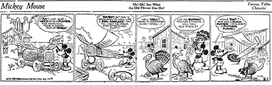 Part 4 of Mickey Mouse's first comic strip, distributed Monday, January 13, 1930.