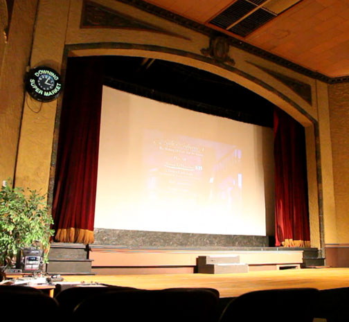 photo of proscenium and movie screen in Marceline, Missouri theater