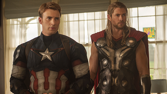 Chris Hemsworth and Chris Evans in Marvel Avengers: Age of Ultron