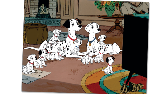 frame from One Hundred and One Dalmatians showing family of Dalmatians all watching TV with great interest
