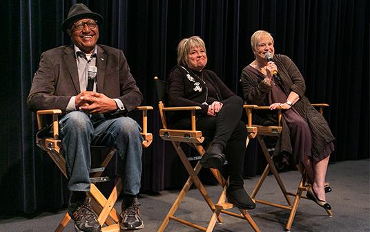 Animator and Disney Legend Floyd Norman, Mimi Gibson (voice of Lucky), and Lisa Davis (voice of Anita)