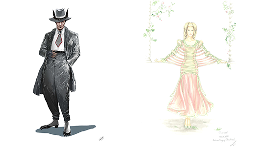Colleen Atwood costume designs for The Wolf and Cinderella in Into the Woods