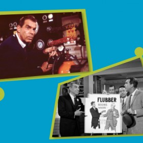 two production stills from the movie Son of Flubber showing star Fred MacMurray and actor Ken Murray