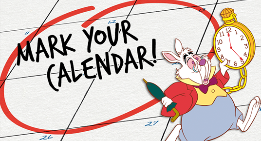 illustration of March Hare from Alice in Wonderland next to text mark your calendar
