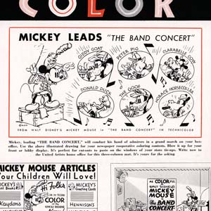 The Band Concert (1935) got an impressive press kit --- but Giddy Goat didn't turn out to be in the actual cartoon.