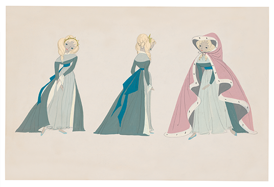 illustration of Cinderella in long dress and with a cape over the dress