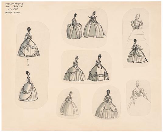 illustrations of Cinderella in several fancy dresses