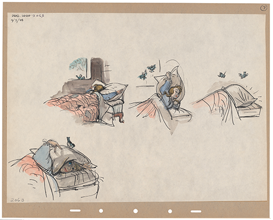 illustrations in pen and ink of Cinderella asleep and pulling a pillow over her head as two small birds visit