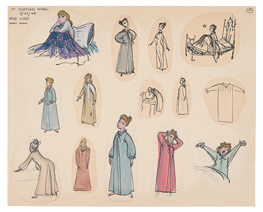 illustration in graphite, ink and goache of Cinderella in various poses and sleeping gowns