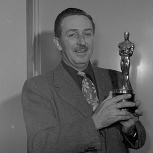 Walt poses with the Oscar for Seal Island (1949), the first of the True-Life Adventures. The nature documentary series won a total of 8 Academy Awards.