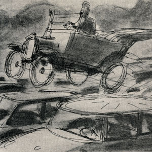 artist's sketched concept of flying jalopy passing over traffic jam