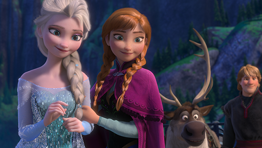still from Frozen showing Elsa, Anna, Sven the moose, and Kristoff