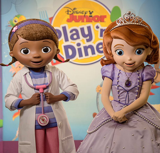 photo of two characters from Disney Junior—Live on Stage! a lady doctor and a princess